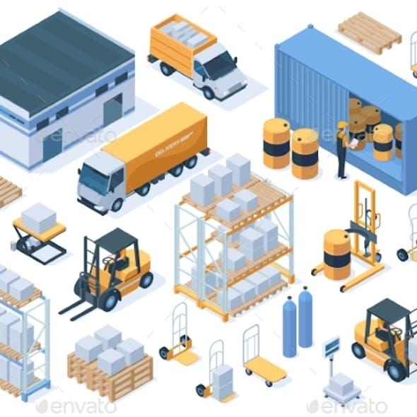 Isometric Storage Buildings Cargo Trucks