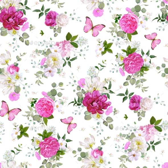 Spring Seamless Pattern with Flowerssucculents