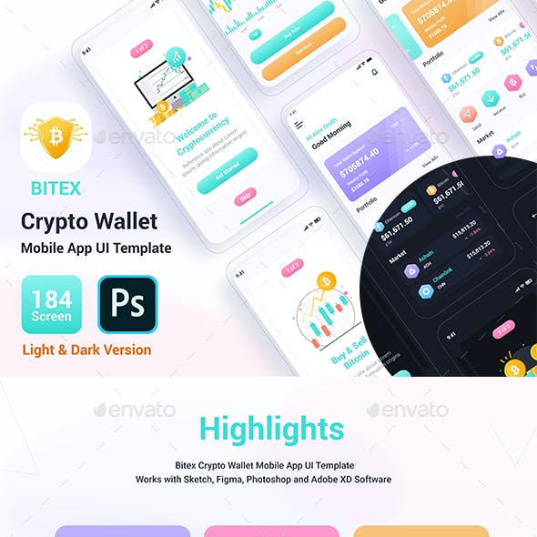 Bitex – Crypto Wallet Mobile App UI Template