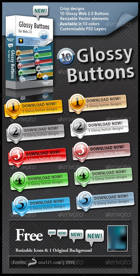 10 Glossy Buttons - Buttons Web Elements