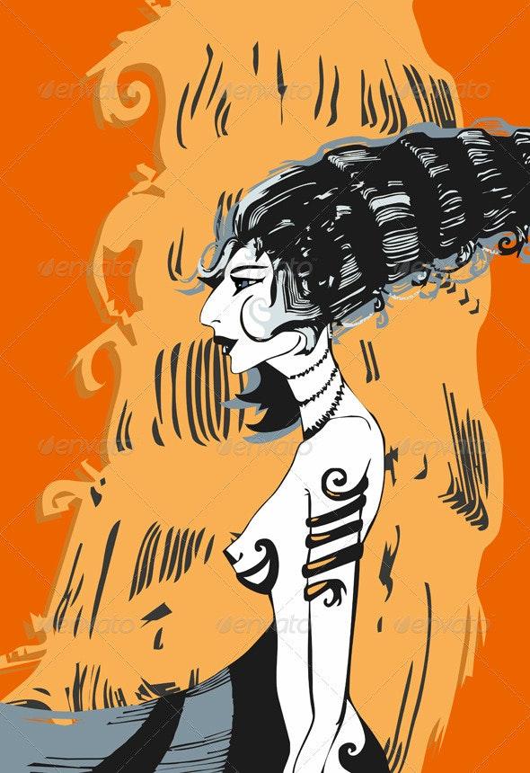 Girl Profile Orange Drawing - People Characters
