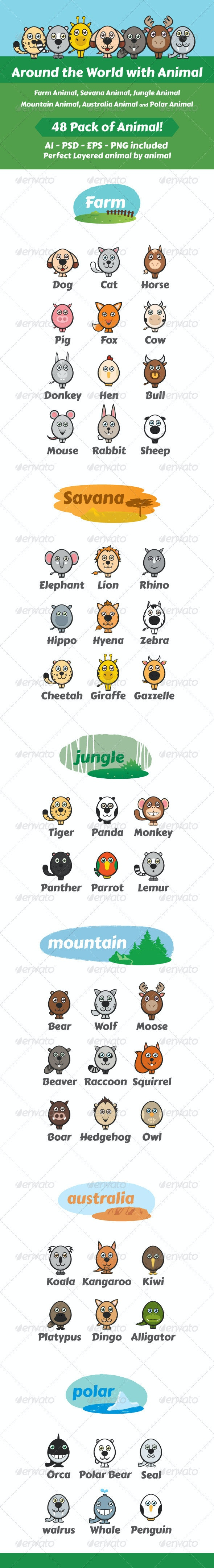Around The World With Animals - Animals Characters