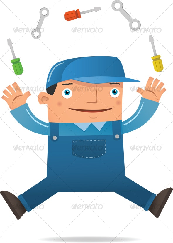 Engineer Juggling - Characters Illustrations