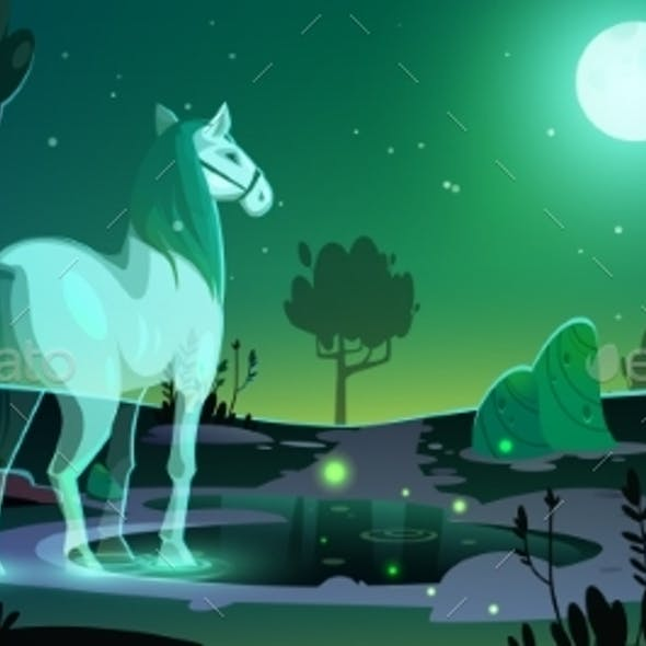 Banner of Mystery with Horse Ghost in Forest
