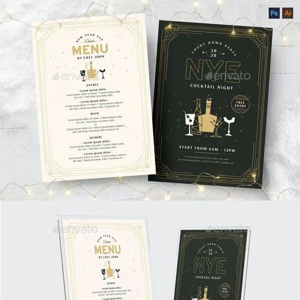 NYE Flyer & Cocktail Menu Templates
