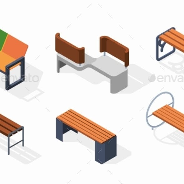 Urban Benches Isometric