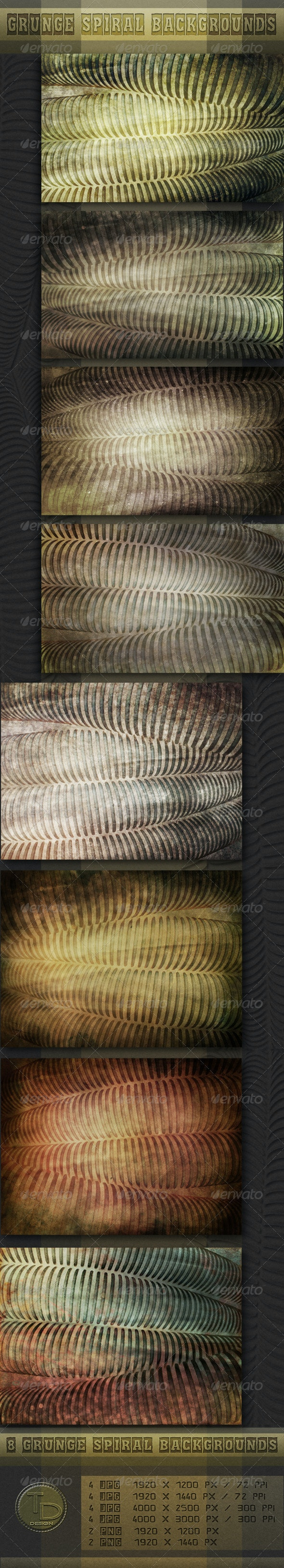 Grunge Spiral Backgrounds - Miscellaneous Backgrounds