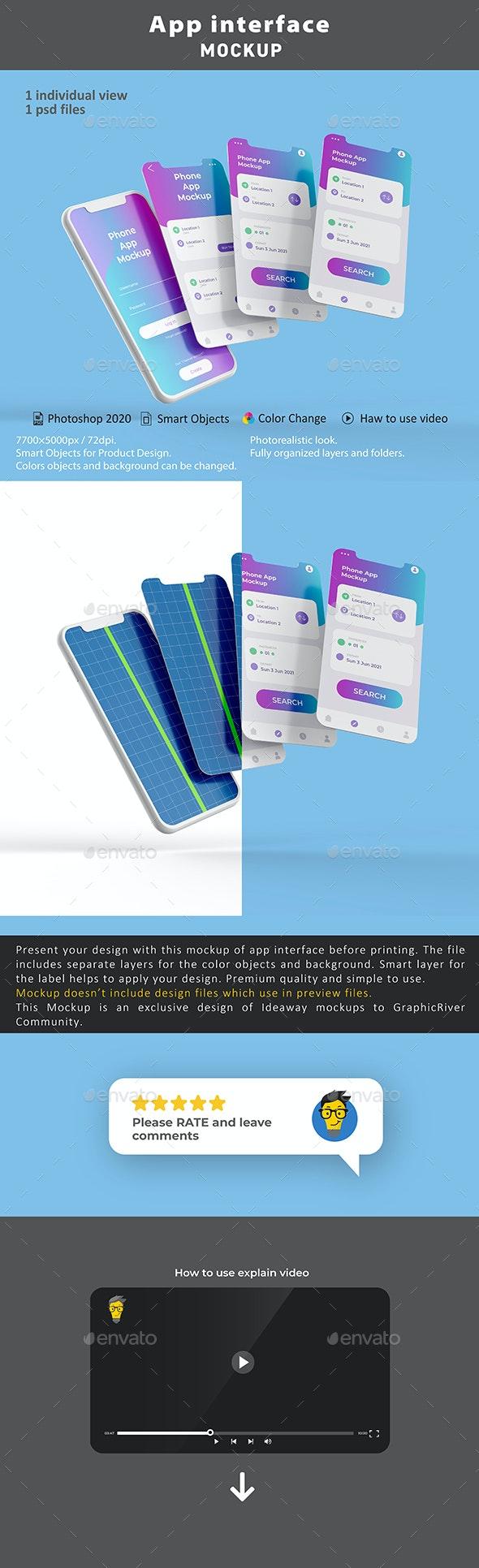 App Interface Mockup - Mobile Displays