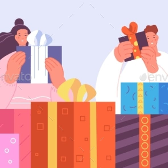 Happy People with Gifts