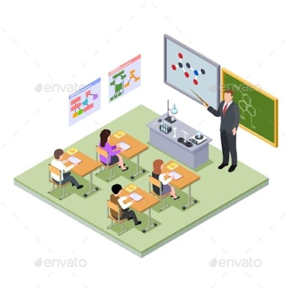 School Lesson Isometric Concept