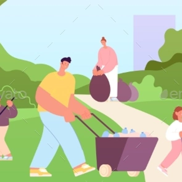 People Cleaning Park