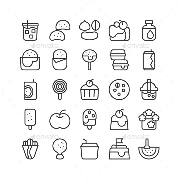 Food Snack Bakery Dessert and Drink Icon Set