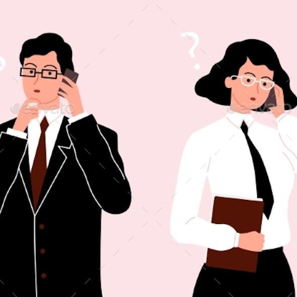 Business People Talking Phone