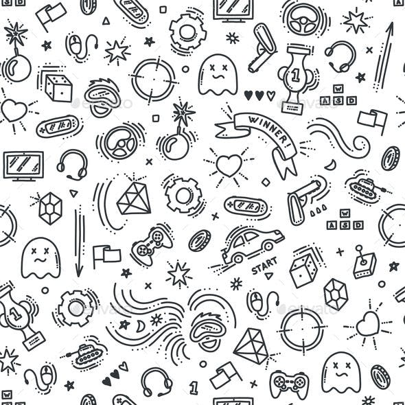 Seamless Pattern of Gaming Objects