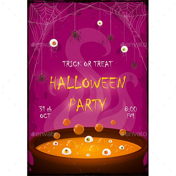 Halloween Party Banner with Orange Potion in Cauldron with Eyes and Spiders