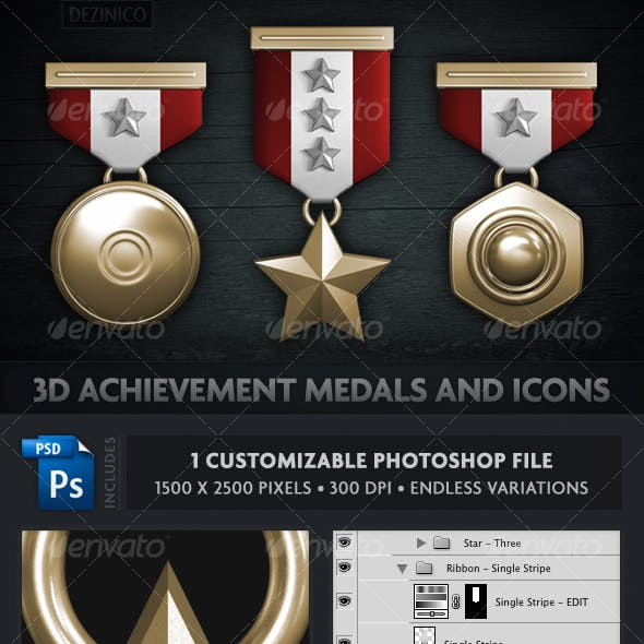 3D ACHIEVEMENT MEDALS AND ICONS (CUSTOMIZABLE)