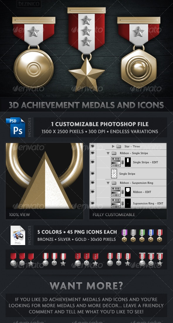3D ACHIEVEMENT MEDALS AND ICONS (CUSTOMIZABLE) - 3D Renders Graphics