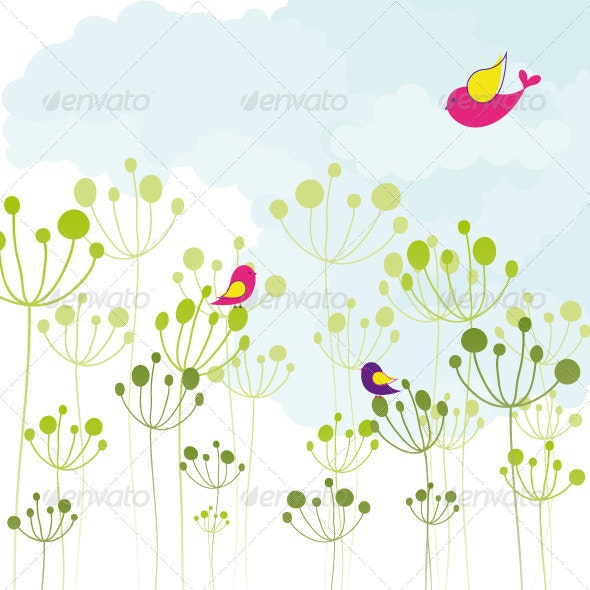 Colorful Birds Green Floral - Backgrounds Decorative