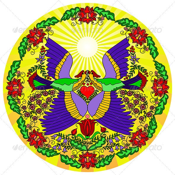 Round pattern with colorful flowers and two birds - Backgrounds Decorative