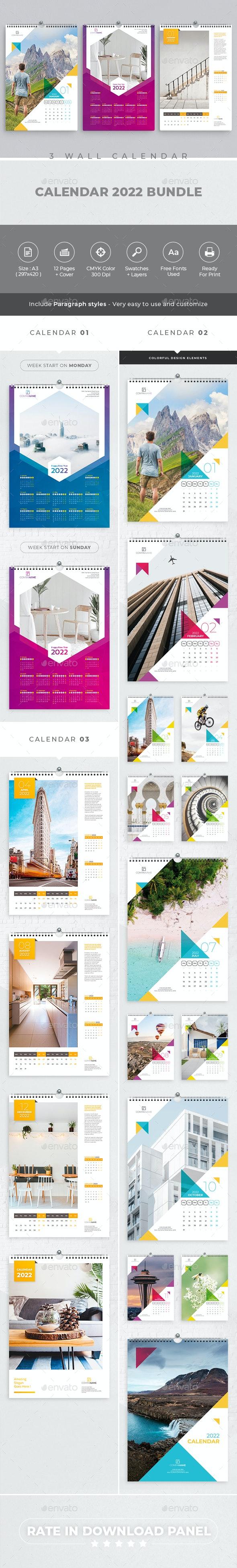 Wall Calendar 2022 Bundle V03 - Calendars Stationery