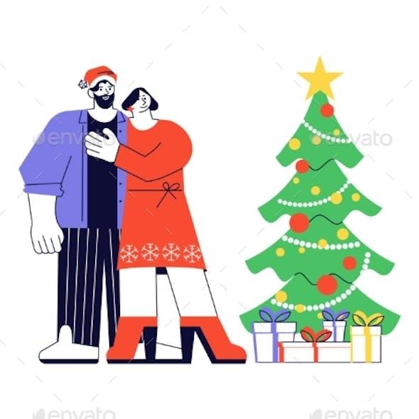 Happy Adult People Near Christmas Tree