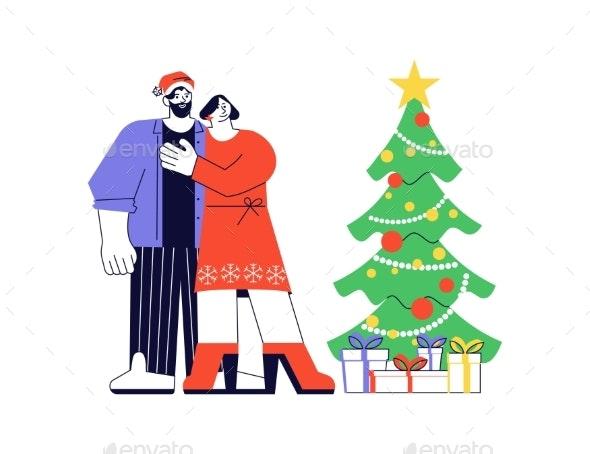 Happy Adult People Near Christmas Tree - People Illustrations