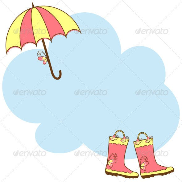 Illustration Cute Rain Boots and Umbrella