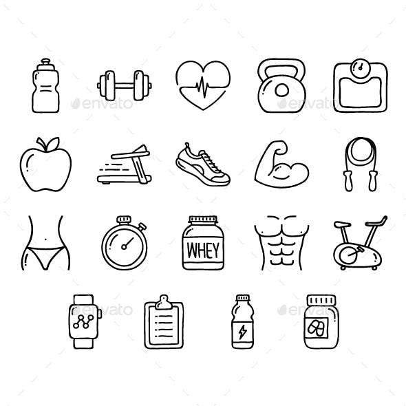 Doodle Health Fitness Icons