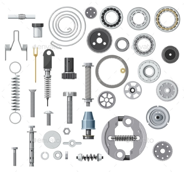 Isolated Bolt Screw Nut and Washer Spring Gear - Industries Business