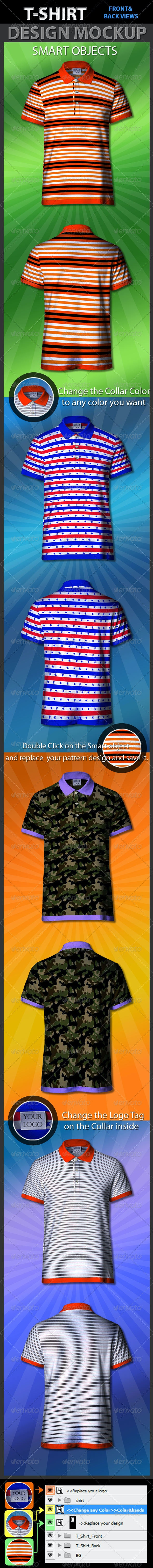 Tshirt Design Front & Back Mockup  - T-shirts Apparel