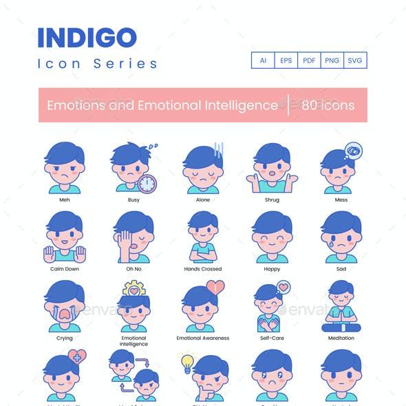 80 Emotions and Emotional Intelligence Icons | Indigo Series