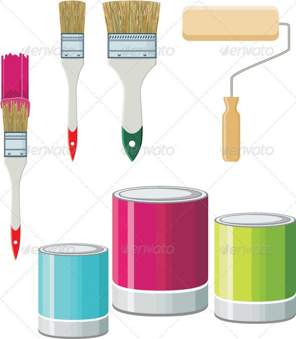 Set Of Brushes And Paints For Walls - Objects Vectors