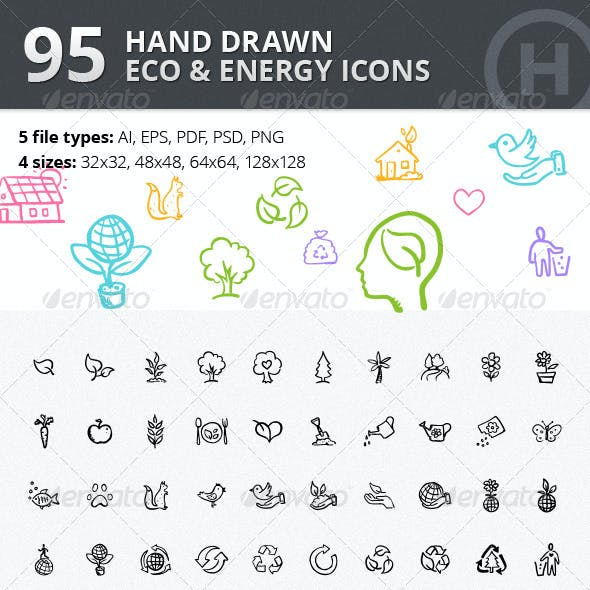 95 Hand-drawn Eco & Energy Icons