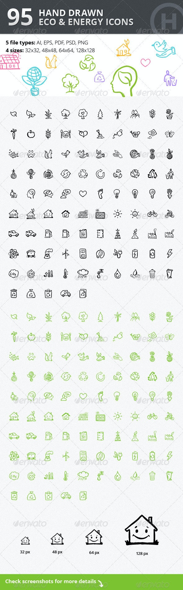 95 Hand-drawn Eco & Energy Icons - Web Icons