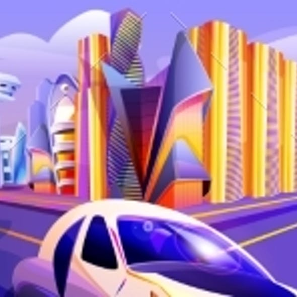 Future City with Flying Cars and Futuristic Glass