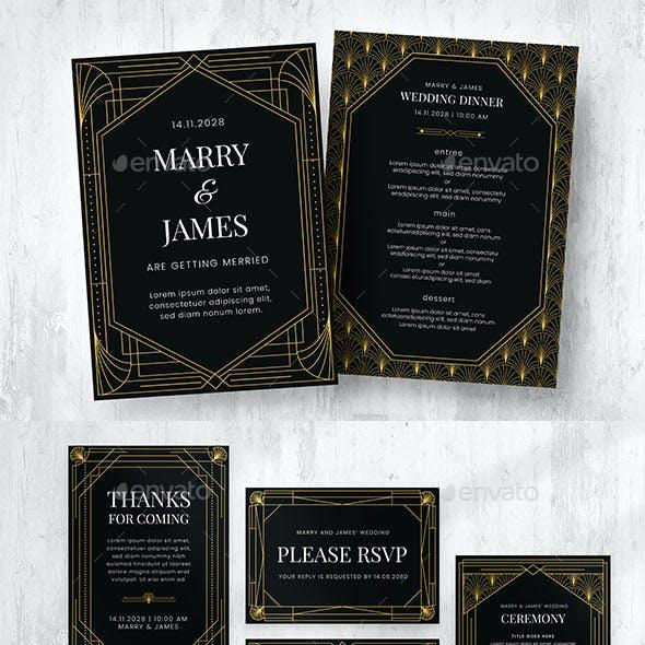 Art Deco Wedding Invite Suite