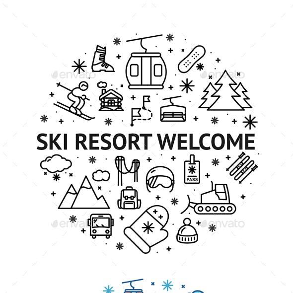 Alpine Resort Welcome Round Design Template Contour Lines Icon Concept. Vector