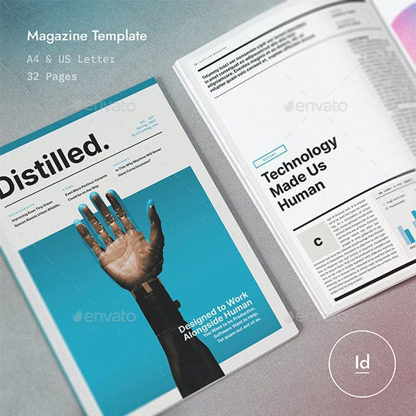 Distilled Magazine 32 Pages InDesign Template