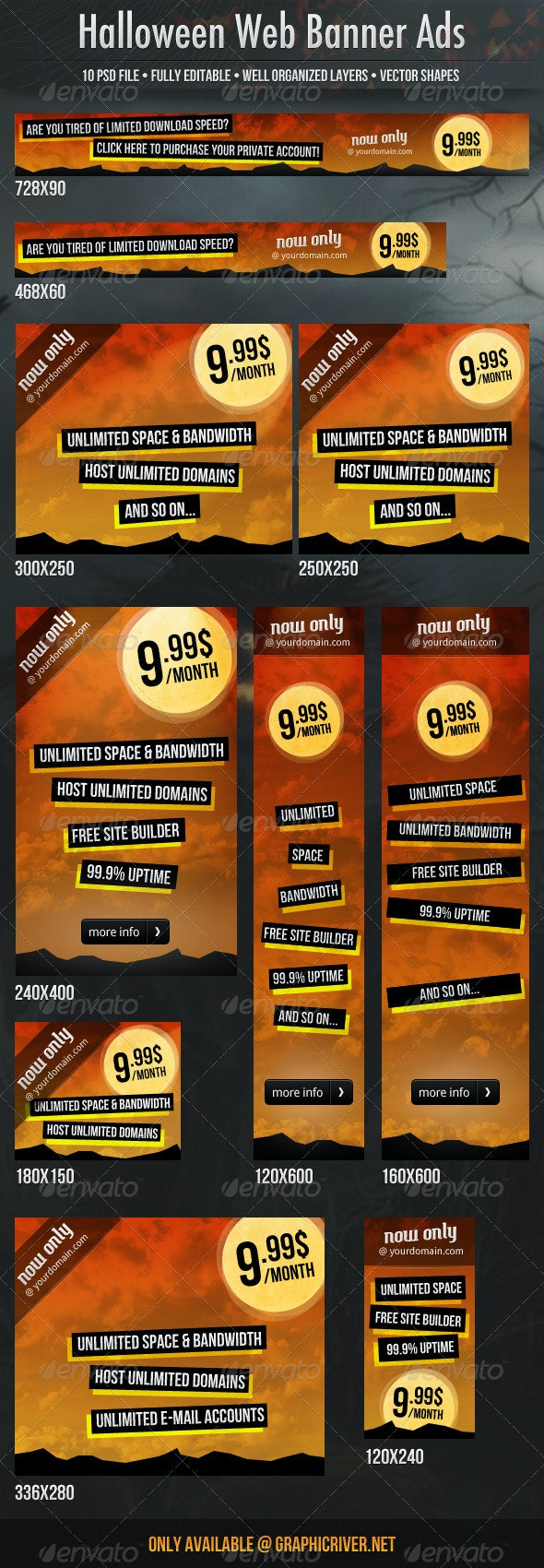 Halloween Web Banners - Banners & Ads Web Elements
