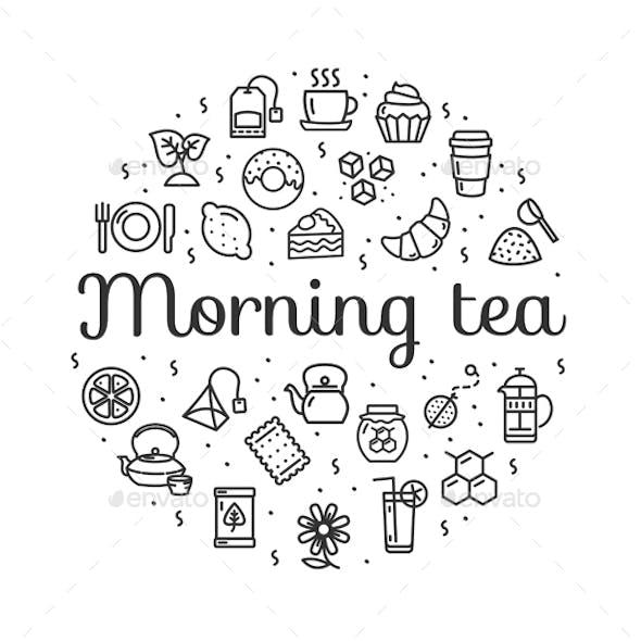 Morning Tea Round Design Template Thin Line Icon Banner. Vector