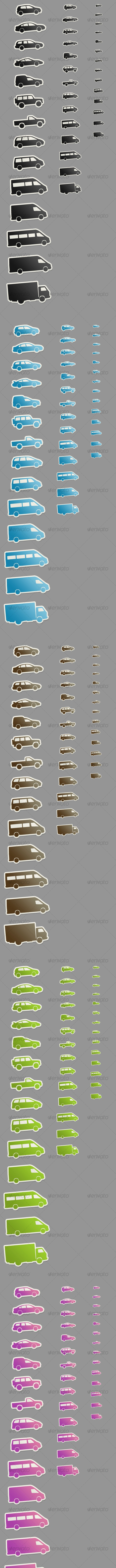 14 Automobile Symbol Stickers, 7 Colors - Objects Icons
