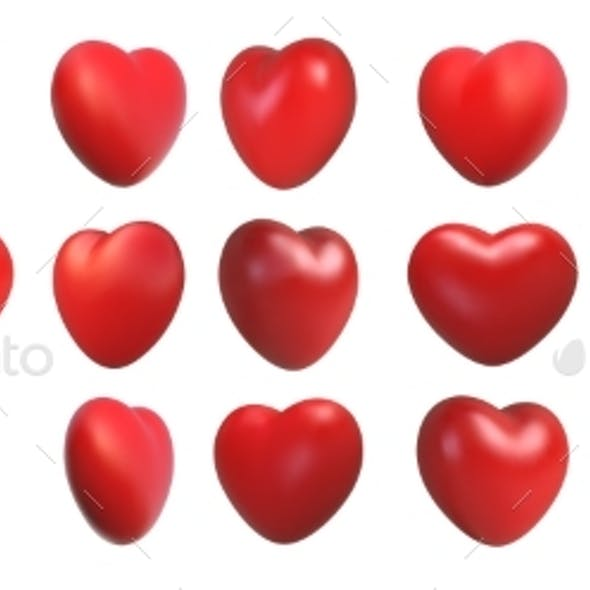 Valentines Day Love Symbol 3d Hearts Rotation
