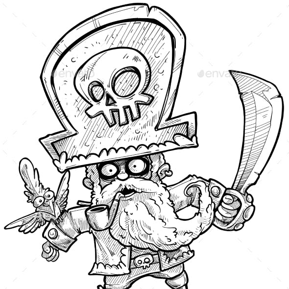 Cartoon Bearded Pirate with Parrot Vector Sketch