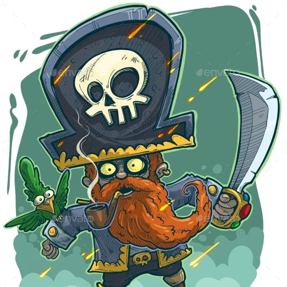 Cartoon Redhead Bearded Pirate with Green Parrot