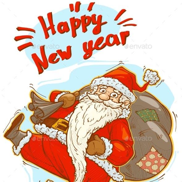 Cartoon Funny Cute Santa Claus with Big Gift Bag