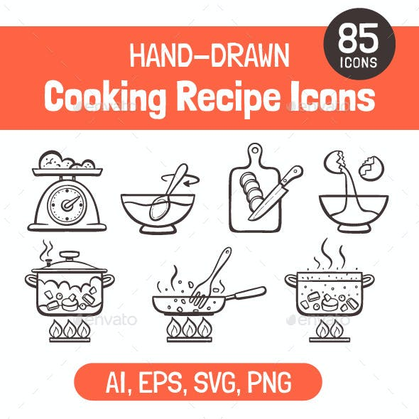 Hand-Drawn Cooking Recipe Icons