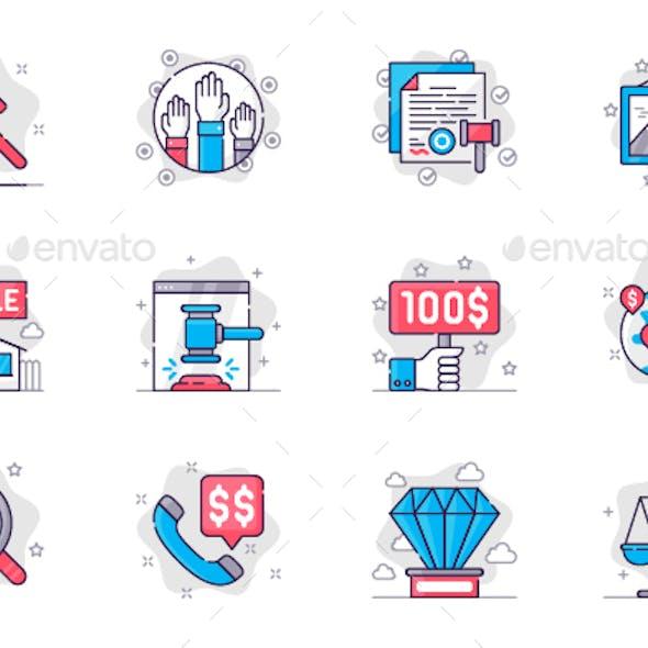 Auction Line Icons Set