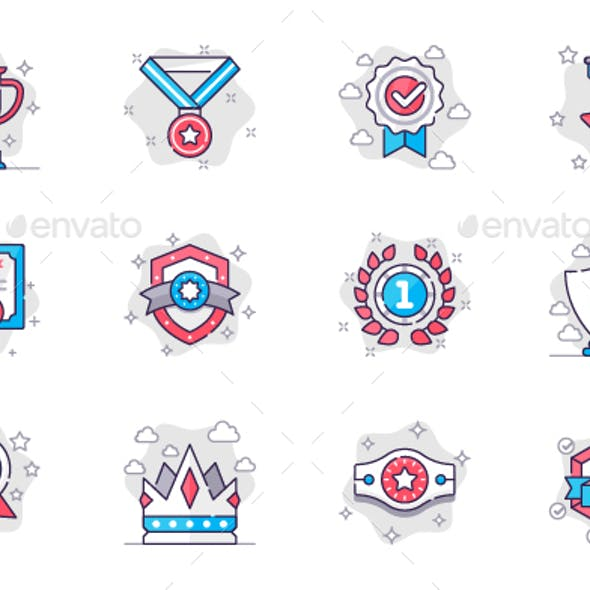 Award Line Icons Set