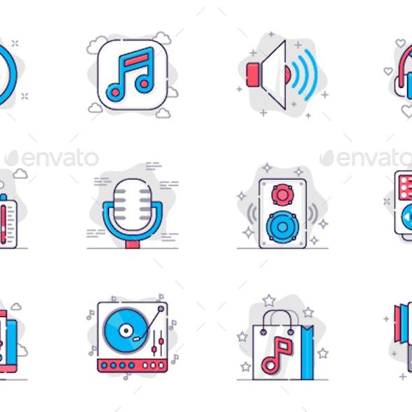 Music and Radio Line Icons Set