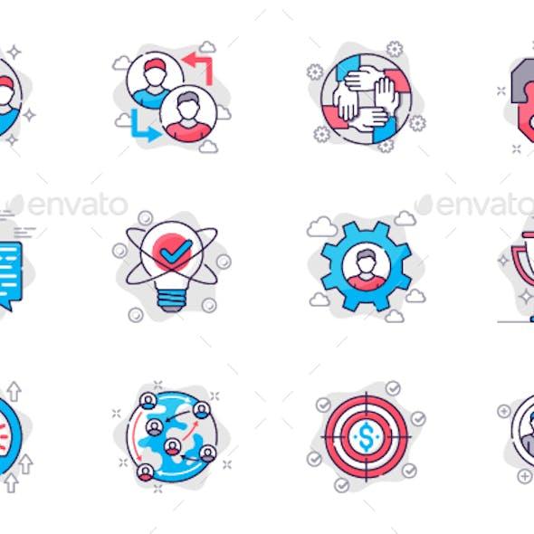 Teamwork Line Icons Set